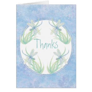 Thank You Original Watercolor Dragonfly in Blue Card