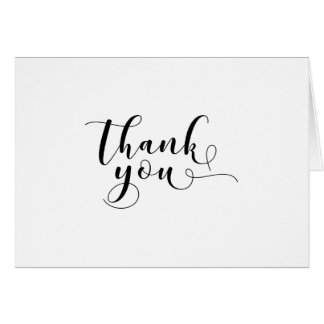 """""""Thank You"""" Ornate Black Script Typography 3 Card"""