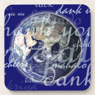 Thank you over earth in different languages drink coasters