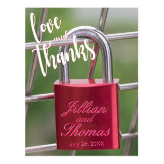 Thank You Overlay Red Padlock Fence Postcard