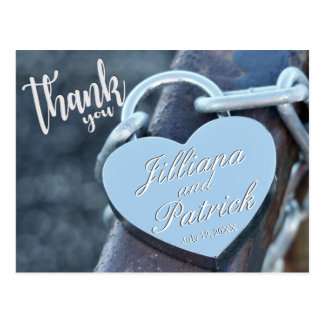 Thank You Overlay Silver Padlock Love Postcard