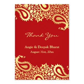 Thank You Paisleys Elegant Indian Flat Card 13 Cm X 18 Cm Invitation Card