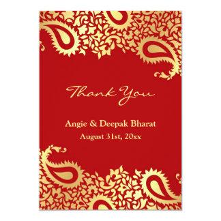 Thank You Paisleys Elegant Indian Flat Card 13 Cm X 18 Cm Invitation Card