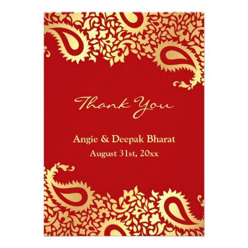 Thank You Paisleys Elegant Indian Flat Card Personalized Invitation