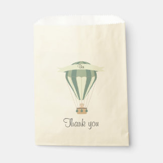 """thank you"" party favor blue hot air balloon favour bag"