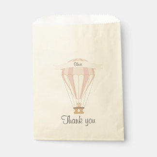 """""""thank you"""" party favor pink hot air balloon favour bags"""