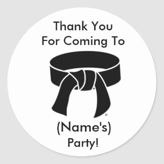 Thank You Party Stickers Martial Arts Black Belt