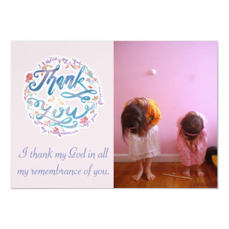 Thank You Photo Card(customizable) Philippians 1:3 Card