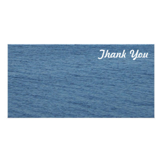 Thank You photo card - Ocean blue background