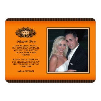 Thank You Photo Card - Orange & Black