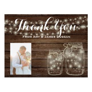 Thank YOU Photo Card Rustic Wedding Mason Jars