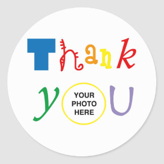 Thank you photo classic round sticker
