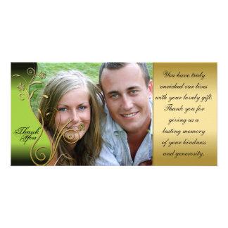 Thank You Photo Wedding Card Classy Green & Gold Custom Photo Card