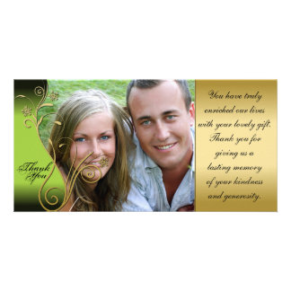 Thank You Photo Wedding Card Classy Green Gold Picture Card