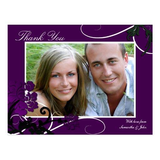 Thank You Photo Wedding Postcard Purple Floral