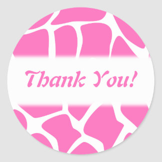 Thank You. Pink and White Giraffe Pattern. Stickers