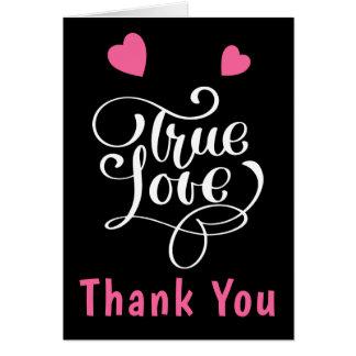 Thank You Pink & Black True Love Hearts Wedding Card