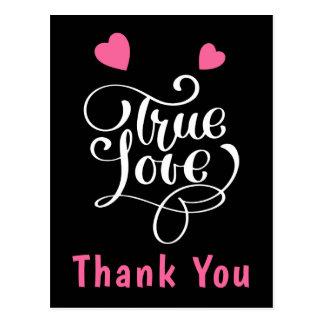 Thank You Pink & Black True Love Hearts Wedding Postcard