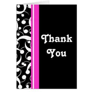 """""""thank you"""" pink black white wedding greeting cards"""