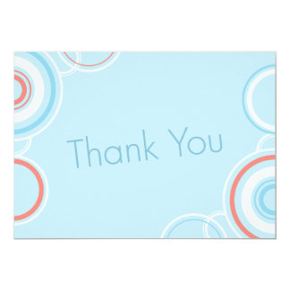 Thank You - Pink & Blue Circles 13 Cm X 18 Cm Invitation Card