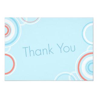 "Thank You - Pink & Blue Circles 5"" X 7"" Invitation Card"