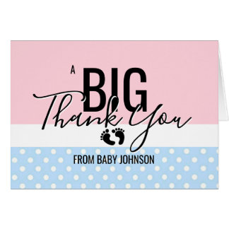 THANK YOU Pink Blue Feet Gender Reveal Baby Shower Card
