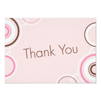 Thank You - Pink & Brown Cirlces 13 Cm X 18 Cm Invitation Card
