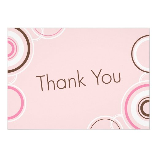 Thank You - Pink & Brown Cirlces Personalized Invitation