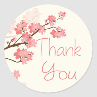 Thank You Pink Cherry Blossom Floral Stickers