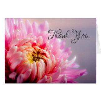 Thank You Pink Chrysanthemum Macro Photo Note Card