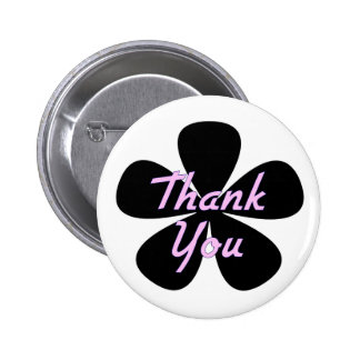 Thank You Pink Flower 6 Cm Round Badge