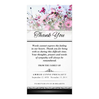Thank You Pink Flower Field Words Cannot Express Customized Photo Card