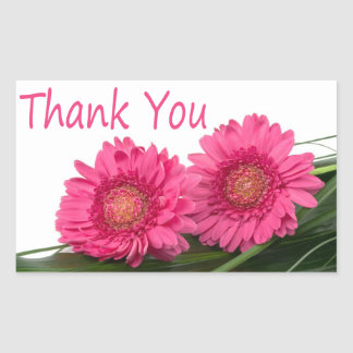 Thank You Pink Gerbera Daisy Flower Floral Sticker