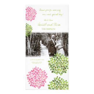 Thank You Pink & Green Blooms Wedding Photo Card