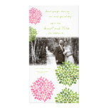 Thank You Pink & Green Blooms Wedding Photo Personalized Photo Card