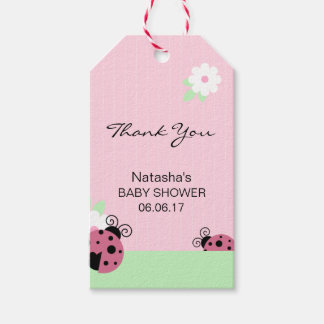 Thank You Pink Ladybug Green Mint Lime Baby Shower Gift Tags
