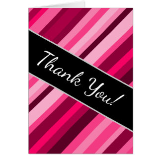 """Thank You!"" + Pink/Magenta Stripes Pattern Card"