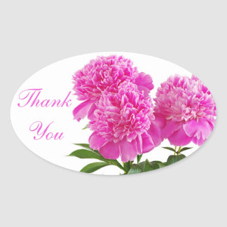 Thank You Pink Peony Flowers Bouquet Stickers