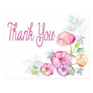 Thank You Pink & Purple Watercolor Flower Postcard Postcard