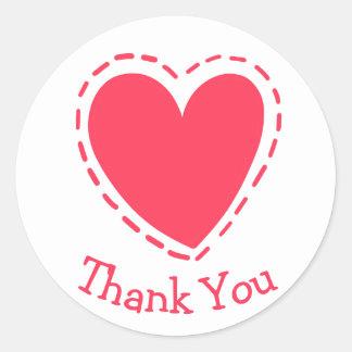 Thank You Pink Red Heart Love - Wedding Round Sticker