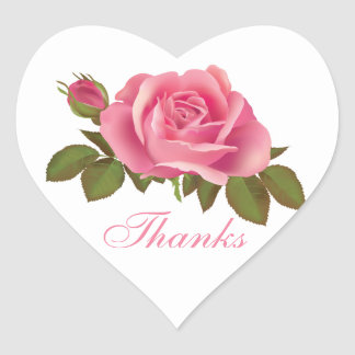 Thank You Pink Rose Greeting Stickers Labels