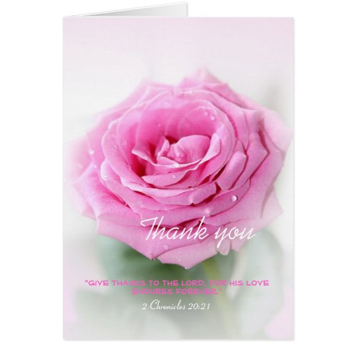Thank you pink rose personalised christian card