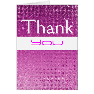 """thank you"" pink shiny metal card"