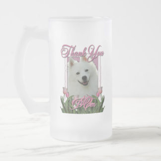 Thank You - Pink Tulips - American Eskimo Frosted Glass Beer Mug