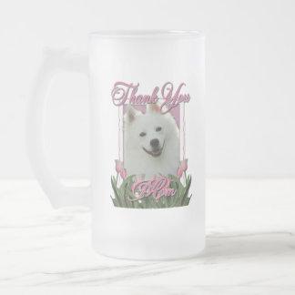 Thank You - Pink Tulips - American Eskimo Frosted Glass Mug