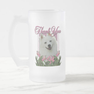 Thank You - Pink Tulips - American Eskimo 16 Oz Frosted Glass Beer Mug