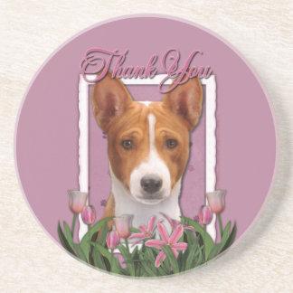 Thank You - Pink Tulips - Basenji Coasters