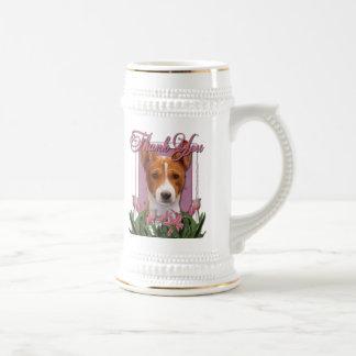 Thank You - Pink Tulips - Basenji Coffee Mug
