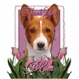 Thank You - Pink Tulips - Basenji Standing Photo Sculpture