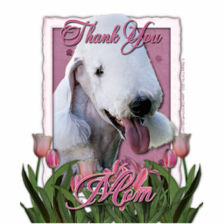 Thank You - Pink Tulips - Bedlington Terrier Standing Photo Sculpture